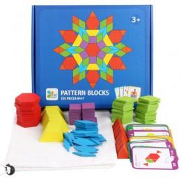155 sztuk Montessori drewniane plansza do układania zestaw kolorowe dziecko edukacyjne drewniane zabawki dla dzieci nauka rozwij