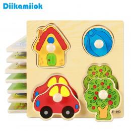 Kids Hand Grab Board Puzzle 3D drewniane zabawki na bajkowe zwierzątka dla dzieci drewniana układanka maluch dziecko wczesna edu