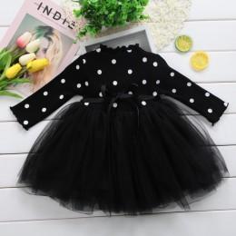 Księżniczka z długim rękawem dziewczynka sukienka noworodka dziewczynka ubrania łuk Dot suknia balowa tutu sukienek ubrania dla