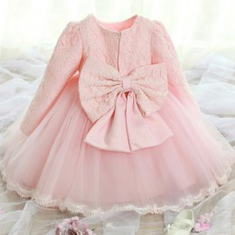 Śliczne sukienki dla dzieci dla dziewczynek urodziny dziecka z długimi rękawami księżniczka sukienka dla dziewczynki chrzest suk