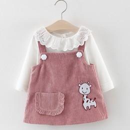 Melario dziecko sukienka dziewczyny wiosna Baby Girl kostium księżniczki słodkie dziewczyny z długim rękawem T-shirt topy kreskó