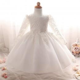 Białe sukienki z długimi rękawami dla dziewczynki chrzest ubranie dla dziewczynki 1 rok urodziny maluch suknia do chrztu sukienk