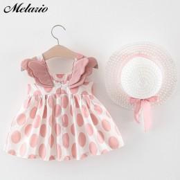 Melario dziewczynek sukienki z kapeluszem 2 szt. Zestawy ubrań dla dzieci ubrania dla dzieci bez rękawów Birthday Party Princess
