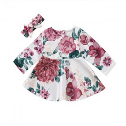 Krótka sukienka z długim rękawem zabudowana pod szyję dla noworodków dziewczynek przewiewna wygodna