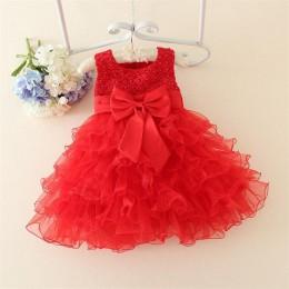 Seksowna koronka kwiat dziewczyny suknia ślubna dziewczynek chrzciny sukienka warstwowa na imprezę okazji dzieci 1 rok dziewczyn