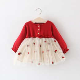 Moda sukienka dla dzieci z długim rękawem sukienka dla niemowląt ananas haftowane wiosna 2019 dziewczynek odzież