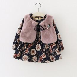 Sodawn 2019 jesień zima dziewczynek odzież z długimi rękawami kwiatowy i aksamitna sukienka moda futro kamizelka 2 sztuk odzież