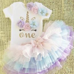 Mała księżniczka kwiatowy jednorożec sukienka dla dziewczynek 1 rok sukienka urodzinowa ciasto Smash stroje niemowlę 12 miesięcy