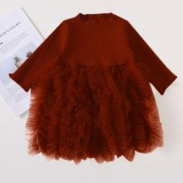 Sukienki dla dzieci dla dziewczynek jesienno-zimowa z długim rękawem dzianina księżniczka sukienka kołnierzyk kwiat lotosu kiesz