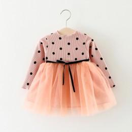 wiosna i jesień dziewczyny szwy siatki dla dzieci łuk z długimi rękawami dziewczyny dzianiny koreański strój ubrania dla dzieci