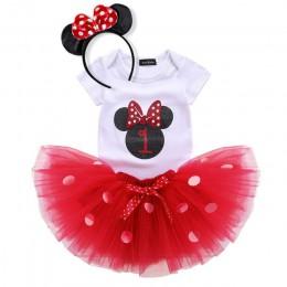 Fantazyjne 1 rok sukienka na przyjęcie urodzinowe Minnie Mouse element ubioru dla dzieci kostium dla dzieci Polka kropki Tutu dz