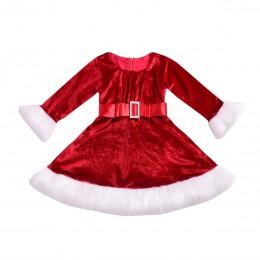 Gril sukienka świąteczna dzieciak nowonarodzone dziewczynki czerwona sukienka księżniczka aksamitna pluszowa sukienka świąteczna