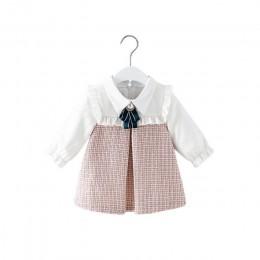 Śliczne noworodka maluch dziewczynek sukienka linii latarnia rękaw dzieci sukienka ubrania w kratkę 0-2Y