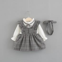 Nowe słodkie Vestido Infantil dziewczynka sukienka dziewczyny College wiatr sukienka 0-3 lat dziecko z długim rękawem jesień dwu