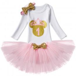 Sukienka dla dzieci z długim rękawem pierwsze urodziny Girl Party dla noworodków odzież strój księżniczka chrzest chrzciny odzie