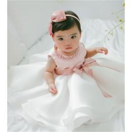 Różowa sukienka dla dziecka suknia do chrztu pierwsze urodziny Party dziewczęce ubranka dla niemowląt suknia maluch niemowlę Ves
