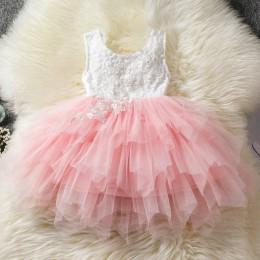 Maluch dziewczęce ubranka dla niemowląt sukienki dziecięce 1 rok urodziny chrzciny koronkowe dziewczęce tiulowe sukienki dziecię