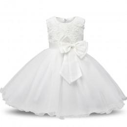 Noworodka chrzest sukienka dla dziewczynki białe pierwsze urodziny ubrania imprezowe 3D Rose Flower maluch dziewczyna suknia do