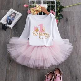 Moje małe dziecko dziewczynka pierwsza pierwsza sukienka na przyjęcie urodzinowe śliczne różowe Tutu ciasto stroje niemowlę suki