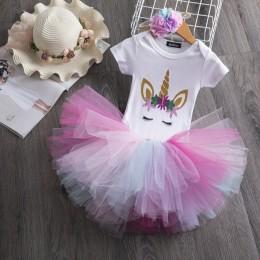 Księżniczka jednorożec sukienka dla dziewczynek 1 rok dziewczynka sukienka urodzinowa ciasto Smash strój niemowlę sukienki 12M j