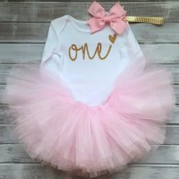 Bawełna dziewczynek ubrania 1 rok 1 sukienka urodzinowa sukienki na dziewczynę maluch dzieci chrzest suknia Tutu stroje z pałąki