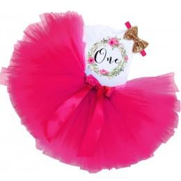 Xmas dziewczynek stroje urodzinowe sukienki na pierwsze pierwsze urodziny imprezowy kombinezon damski jednoczęściowy + pałąk 1 r