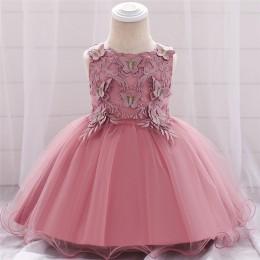 Niemowlę dziewczynka sukienka koronkowe tiulowe sukienki chrzest dla dziewczynek 1 rok urodziny frezowanie Appliqued wesele odzi