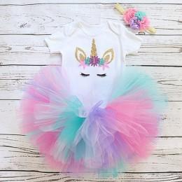 Maluch dzieci dziewczynka sukienka 1 rok urodziny nosić chrzest impreza jednorożec stroje niemowlę księżniczka dziewczyny ubrani