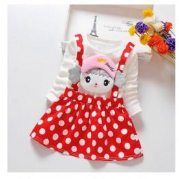 BibiCola dziewczynek sukienka na co dzień dla dzieci na jesień, dla dziewczyny ubrania sukienka w groszki ubrania dla dzieci sło
