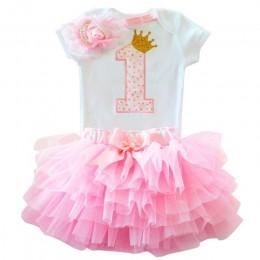 Flower Girls pierwsza sukienka urodzinowa prezent Tutu niemowlę chrzciny sukienka warstwowa na imprezę dla dzieci 1 rok dziewczy