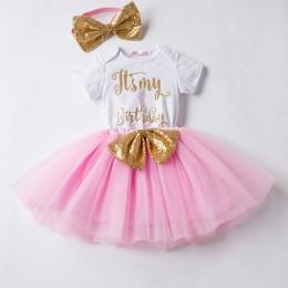 Dziecko pierwsze stroje urodzinowe Tutu Tulle 1 rok Party komunia maluch suknia do chrztu puszyste różowe sukienki dla dzieci 1