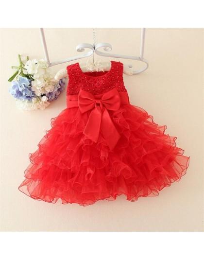 Koronkowe sukienki dla dziewczynek suknia do chrztu perłowe ciasto Smash stroje z ubrania z kokardą do chrztu 1 rok dziewczynka