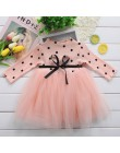 Baby Girl ubrania jesień Polka Dot z długim rękawem tutu sukienka 1st urodziny sukienka dla dzieci zimowe dzianiny Vestidos Infa
