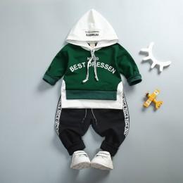 Wiosna jesień dzieci bawełniane ubrania zestawy dziewczynek chłopców sport z kapturem T-Shirt spodnie 2 sztuk/zestawów moda dzie