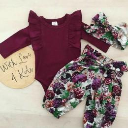3 sztuk niemowlę noworodka dziewczynka ubrania z długim rękawem wzburzyć Romper + kwiecista długa spodnie + pałąk stroje ubrania
