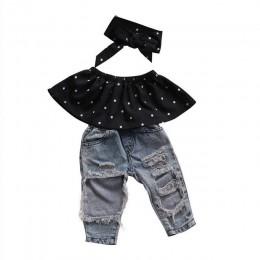 Letnia moda maluch dziewczynek ubrania Dot bez rękawów 3 sztuk topy + dżinsy z dziurami stroje odzież codzienna 0-3Y dziewczyny