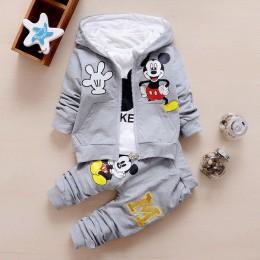 Jesień dziewczynek chłopców ubrania zestawy śliczne niemowlęce garnitury bawełniane płaszcz + T Shirt + spodnie na co dzień dzie