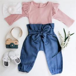 Baby Girl Clothes 2019 jesienno-zimowa miękka bawełniana noworodek dziewczynka kombinezon Romper spodnie z kokardami 2 szt. Zest