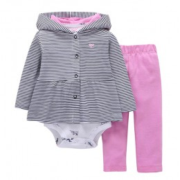Kids baby bebes boy odzież zestaw kurtka z kapturem + pajacyki + spodnie niemowlę chłopiec dziewczyna odzież jesień wiosna dziec