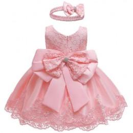 Dziewczynek noworodka sukienka ubrania nowe słodkie Bowknot koronki bez rękawów dziewczyna sukienka urodziny garnitur niemowląt