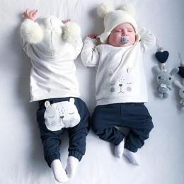 Jesienno-zimowa dla niemowląt chłopców ubrania bawełniane słodkie zwierzaki topy spodnie dla dzieci 2 szt. Kombinezon dziecięcy