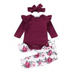 3 sztuk zestaw noworodków dziewczynek odzież zestaw dres Romper kombinezon topy spodnie w kwiaty pałąk stroje ubrania zestaw 0-1