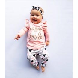 Noworodek dziewczynek ubrania jesień z długim rękawem list t-shirt + różowe spodnie z nadrukiem + pałąk niemowlę 3 szt. Dziewczy