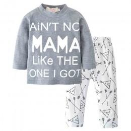 Nowonarodzone dziecko chłopiec dziewczyna ubrania zestaw Mama chłopiec 2018 letnia bawełniana koszulka + spodnie ze strzałkami 2