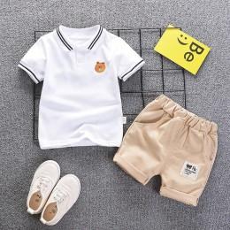 Letnie chłopięce ubrania garnitury w stylu dżentelmena zestawy ubrań dla chłopców t-shirt + spodnie 2 sztuk Casual dresy sportow