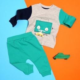 Ebebek Mymio Baby Boy Robot Cartoon bluza spodnie zestaw codzienna bawełna Casual O-Neck pełna zwykła moda dla dzieci