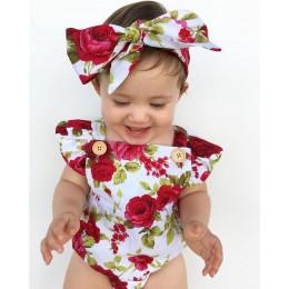 2019 Floral Newborn Baby Girl ubrania marszczony rękaw body kombinezon + pałąk 2 sztuk strój Bebek Giyim Sunsuit 0-24M
