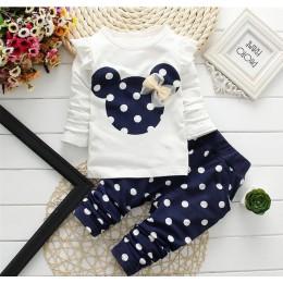 LILIGIRL dziewczynek ubrania sportowe zestawy 2019 noworodka bawełna Mickey t-shirt + spodnie Polka Dot garnitur dla dzieci topy