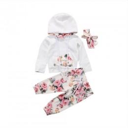 Pudcoco 3 sztuk zestaw nadrukowana bluza z kapturem maluch dziewczynka ubrania dorywczo bawełny z długim rękawem topy z kapturem