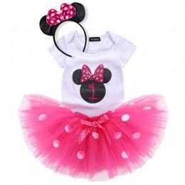 Letnia sukienka dla dziewczynek pierwsza 1 urodziny ciasto Smash ubranie 3 szt. Zestawy Romper spódniczka tutu z opaską na głowę